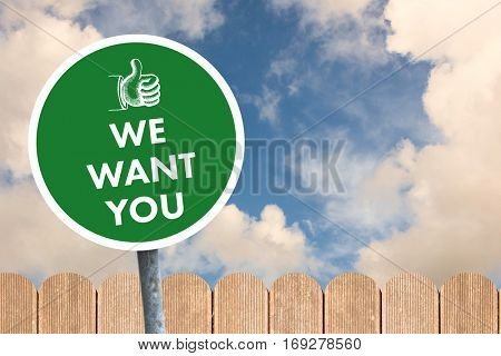 We want you against fence under blue sky