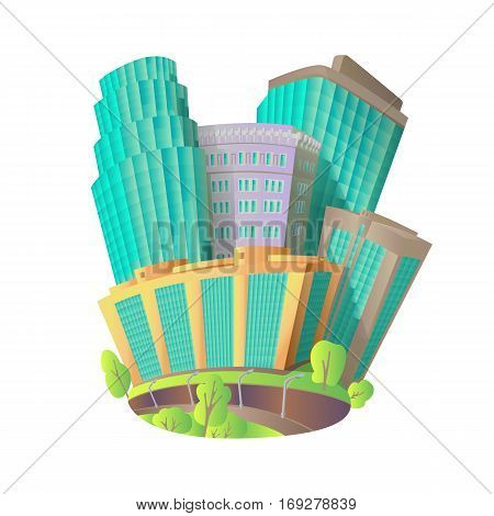 Bright drawn vector picture with high-rise buildings