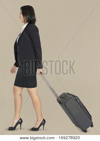Young Asian Business Travel Luggage