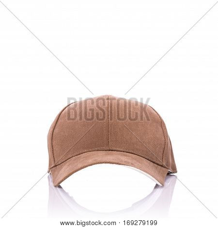 Close Up New Brown Baseball Hat. Studio Shot Isolated On White