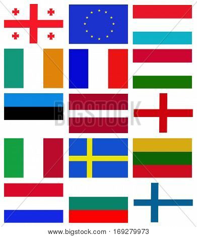 Euro nation flag collection background. Euro nation flag