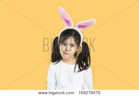 Little Girl Bunny Ears Silly Concept