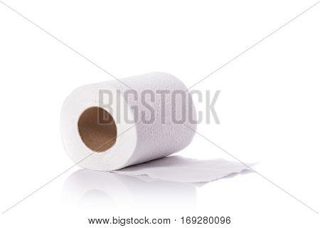 White Toilet Paper/tissue Paper. Studio Shot Isolated On White