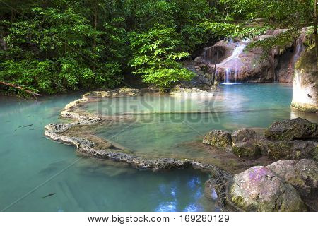 Erawan Waterfall emerald and green forest in Kanchanaburi Thailand