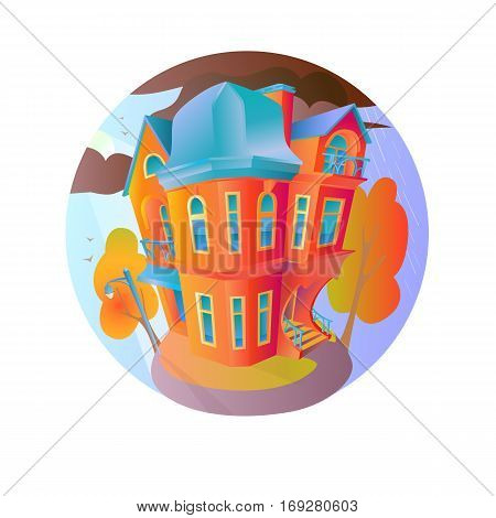 Bright vector house in the autumn weather. Cottage in a Victorian style. A home with a balcony a porch and a shop with a showcase and a canopy. Round emblem