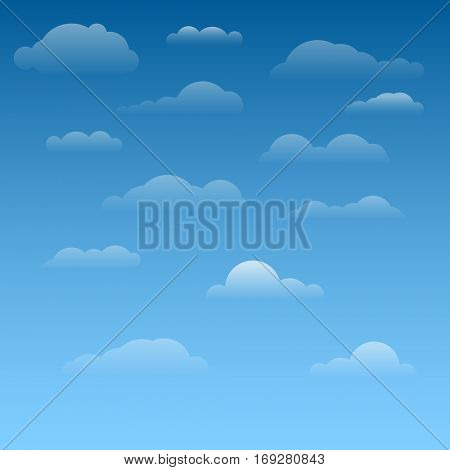 Collection of vector clouds with light gradinet and different shapes