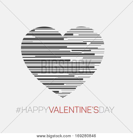 Minimalistic valentine's card - Modern style vector heart illustration made from stripes
