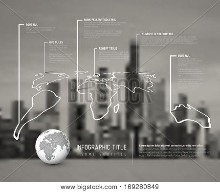 Light World thin line map infographic template with pointer marks and blurred city photo in the background