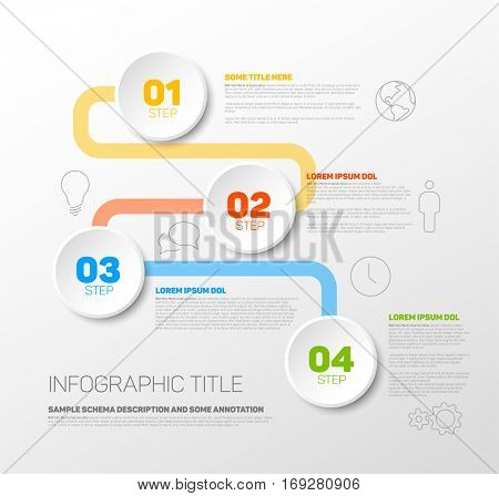 One two three four - colorful vector progress template with four steps