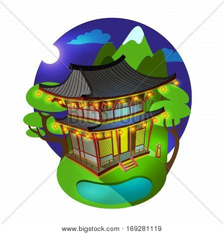 Bright vector illustration. Asian traditional architecture at moonlit night. The building is in the mountains and lakes. Last minute chinese lanterns under the roof of a traditional construction.