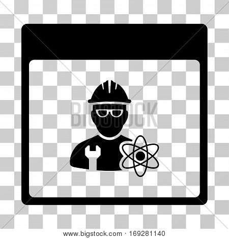 Atomic Engineer Calendar Page icon. Vector illustration style is flat iconic symbol black color transparent background. Designed for web and software interfaces.