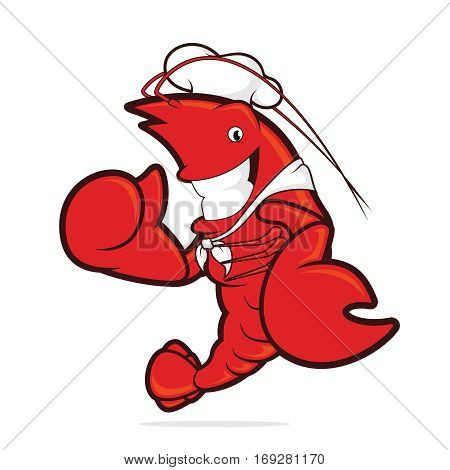 Clipart picture of a lobster chef cartoon character giving thumbs up