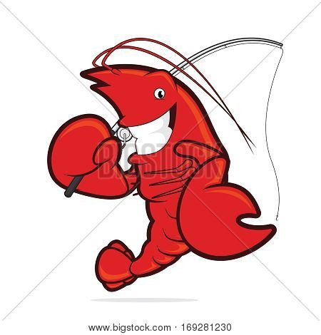 Clipart picture of a lobster cartoon character holding a fishing rod