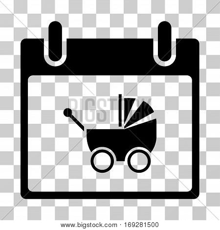 Baby Carriage Calendar Day icon. Vector illustration style is flat iconic symbol black color transparent background. Designed for web and software interfaces.