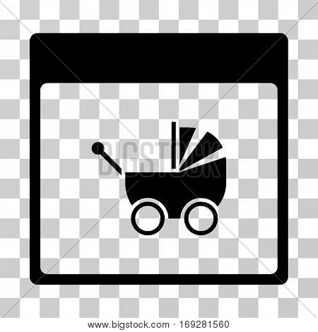 Baby Carriage Calendar Page icon. Vector illustration style is flat iconic symbol black color transparent background. Designed for web and software interfaces.