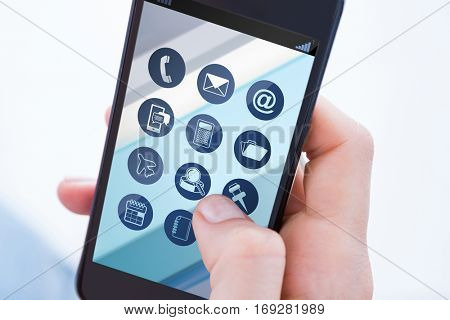 Woman using her mobile phone against telephone apps icons