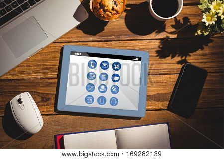 Telephone apps icons against view of a desk