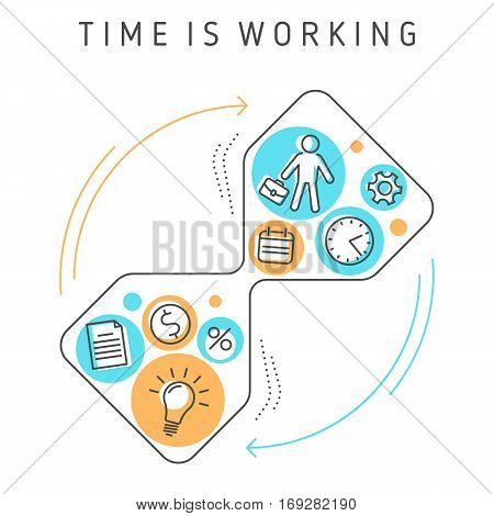 Vector conceptual flat outline illustration. Continuous process of time working time management targeting work planning and timing. Creative workflow of investing time ideas knowledge to make money.