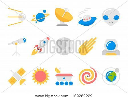 space cosmos and astronomy flat icons set with universe satellite sputnik rocket astronaut pictogram