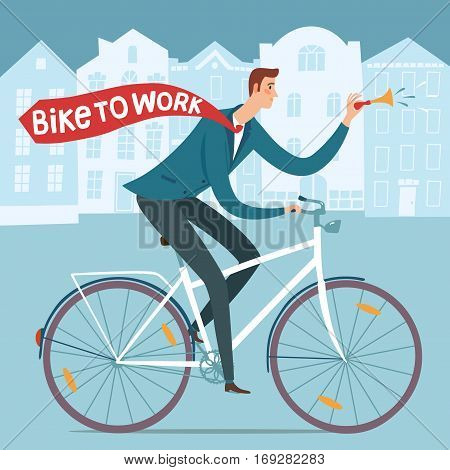 City style worker with tie riding on a bicycle. Bike to work poster. Including european cityscape background. Hand drawn cartoon illustration.