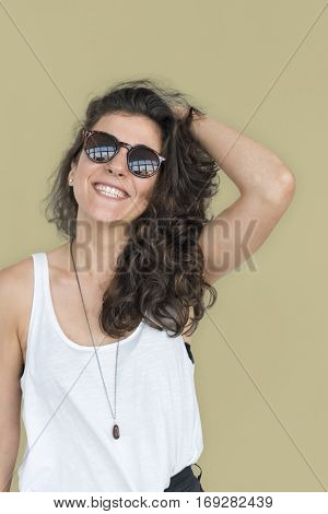 Caucasian Lady Casual Sunglasses Concept