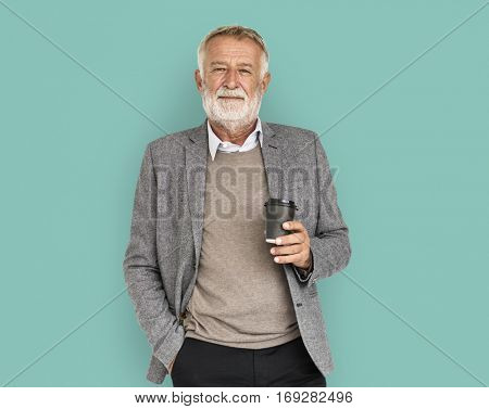 Mature Old Man Coffee Concept