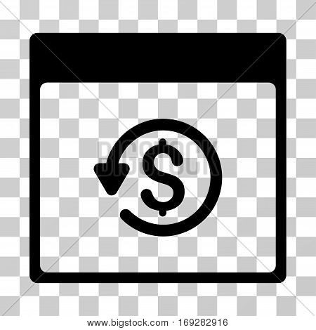 Chargeback Calendar Page icon. Vector illustration style is flat iconic symbol black color transparent background. Designed for web and software interfaces.