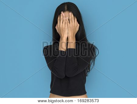 Women Hands Covering Face Studio