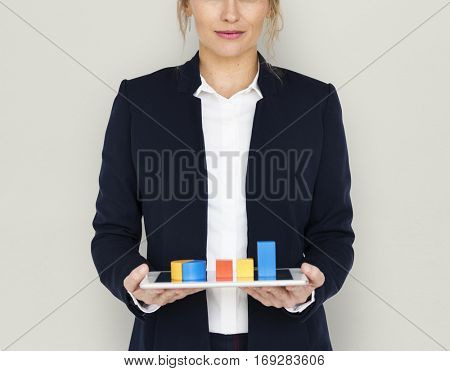 Business Woman Chart Smile Concept