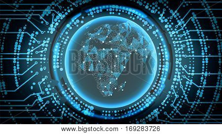 Future Technology Cyber Concept Background. Africa. Vector Illustration