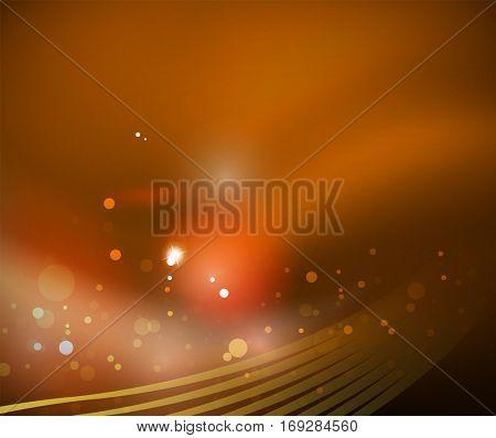 Vector transparent wave lines on color blur silk abstract background. Technology or business wallpaper or template