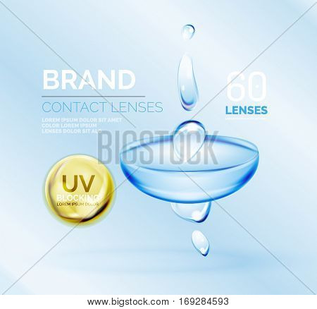 Vector eye contacts lenses ad template, packaging and product ads design