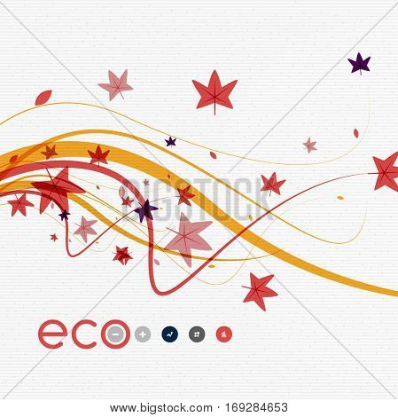 Vector nature floral template - leaves with color wave lines on white cardboard vintage texture, abstract background.