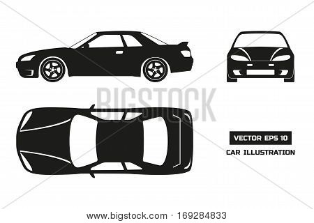 Black silhouette of the car on a white background. Top front and side view. Vector illustration