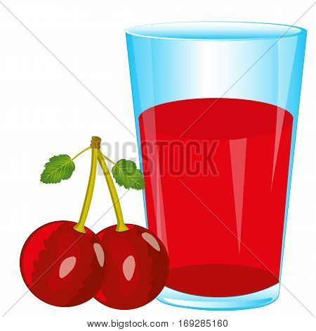 Glass of juice and berry cherry on white background is insulated