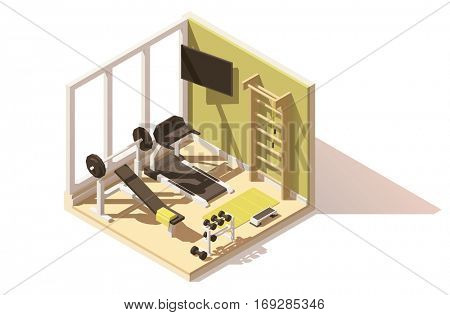 Vector isometric low poly gym and fitness room cutaway icon. Room includes gym exercise equipment and machines