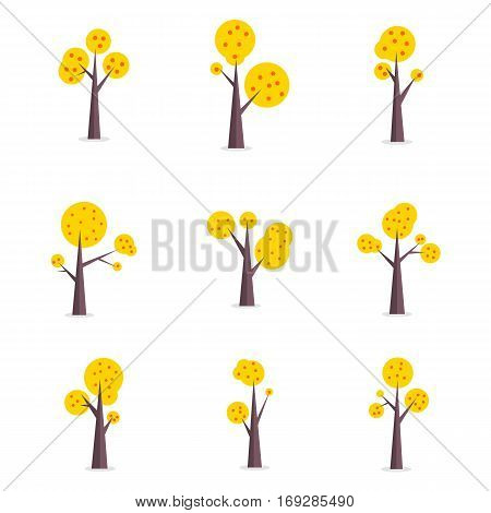 Set of tree various vector flat collection stock