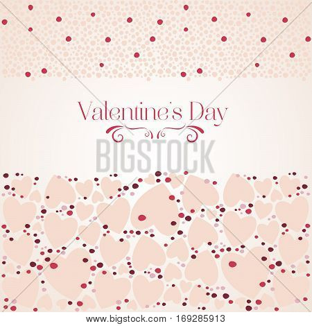 Romantic Red Heart On Light Beige Background. Vector Illustration To Valentine's Day