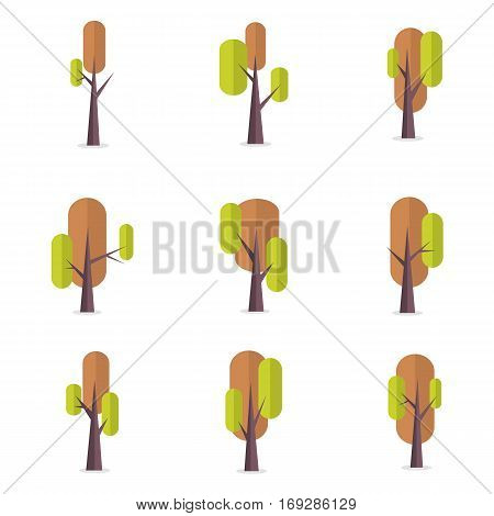 Tree set style of vector art collection stock