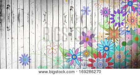 Digitally generated girly floral design against wooden planks background