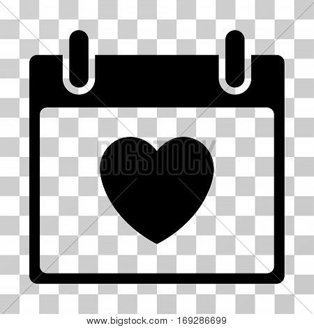 Favourite Heart Calendar Day icon. Vector illustration style is flat iconic symbol black color transparent background. Designed for web and software interfaces.