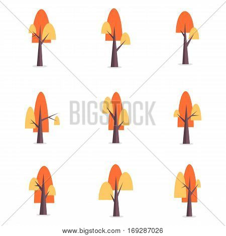 Collection stock of tree set various vector flat