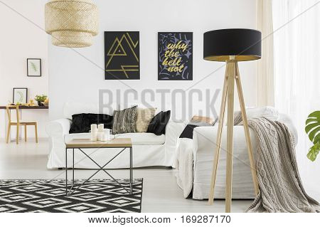 Living Room With Black Lamp