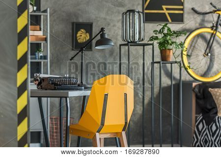 Grey Home Office With Typewriter