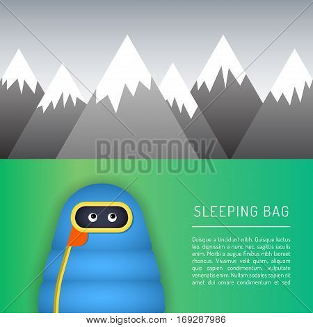 The character is in a sleeping bag