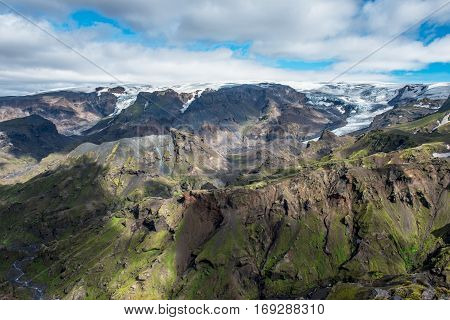 View at Eyjafjallajokull in Thorsmork hiking trail to Skogar mountain ridge between the rivers Krossa and Markafljot Iceland