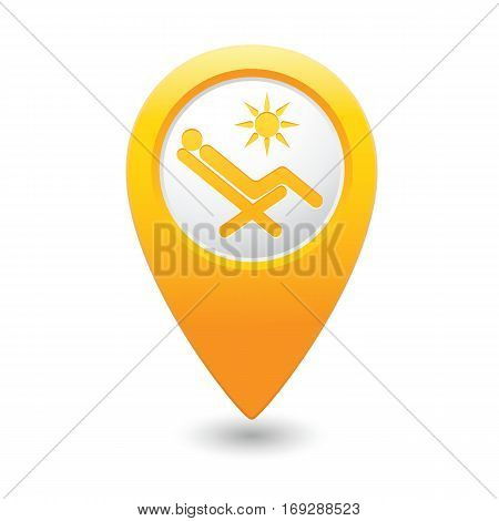Map pointer with beach chair. Vector illustration