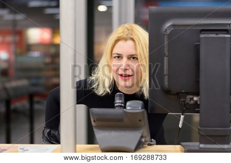Woman Dispatcher At Workplace