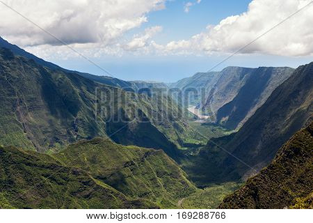 reunion island indian ocean : lookout on mountains cirque called