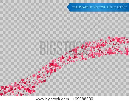 Pink and red falling hearts waves on a transparent background. Symbol of love, Valentines day background . Flower petal in shape of heart confetti. Decor element for greeting cards, bunners. Vector
